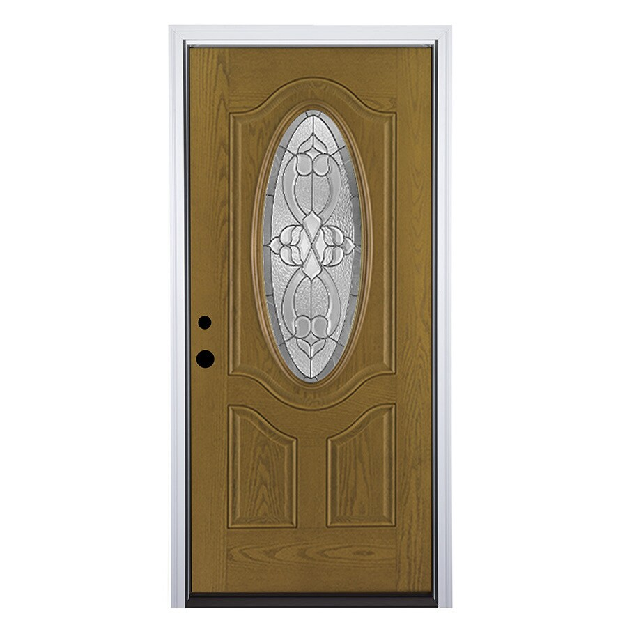 Therma-Tru Benchmark Doors Willowbrook Right-Hand Inswing Medium Oak Stained Fiberglass Entry Door with Insulating Core (Common: 36-in x 80-in; Actual: 37.5-in x 81.5-in)