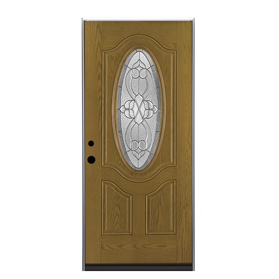 Therma-Tru Benchmark Doors Willowbrook 2-Panel Insulating Core Oval Lite Left-Hand Outswing Medium Oak Fiberglass Stained Prehung Entry Door (Common: 36.0-in x 80.0-in; Actual: 37.5-in x 80.5-in)