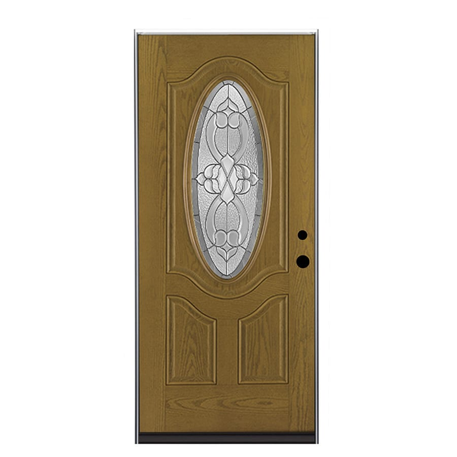 Shop therma tru benchmark doors willowbrook right hand outswing medium oak stained fiberglass 36 x 80 outswing exterior door