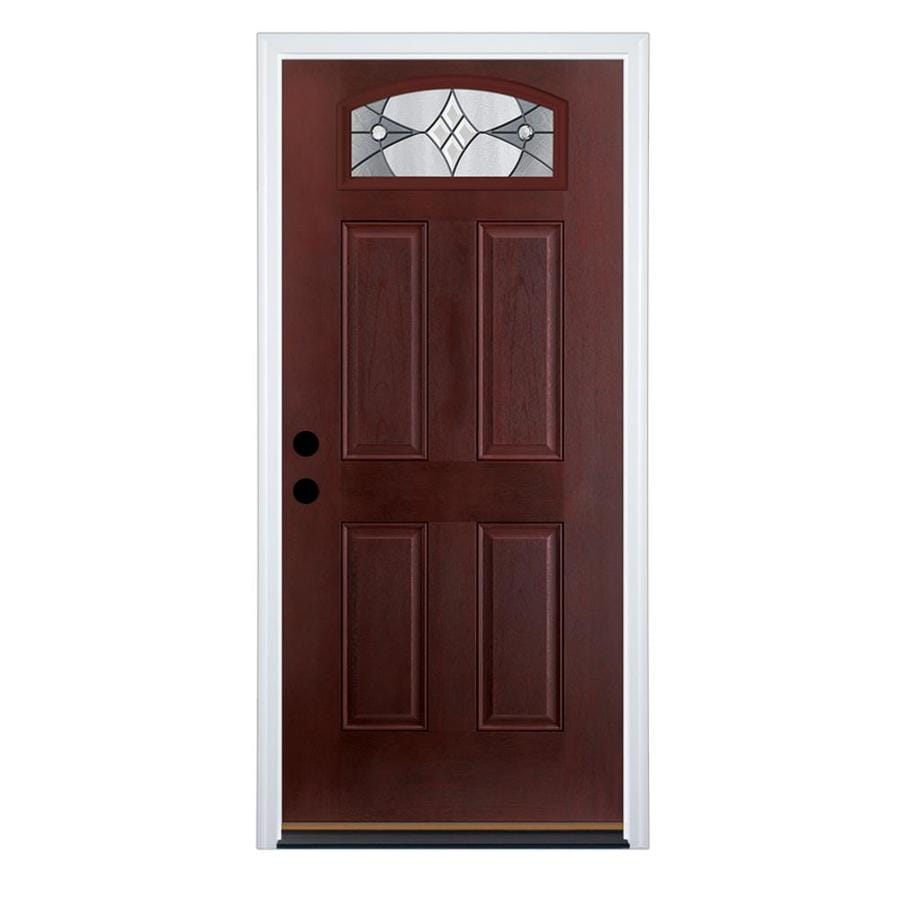 Shop therma tru benchmark doors delano right hand inswing dark therma tru benchmark doors delano right hand inswing dark mahogany stained fiberglass entry door rubansaba