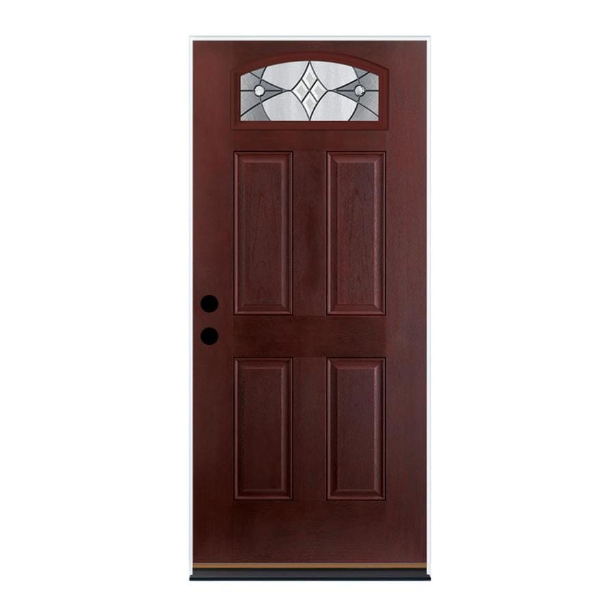 Therma-Tru Benchmark Doors Delano 4-Panel Insulating Core Morelight Right-Hand Inswing Dark Mahogany Fiberglass Stained Prehung Entry Door (Common: 36.0-in x 80.0-in; Actual: 37.5-in x 81.5-in)