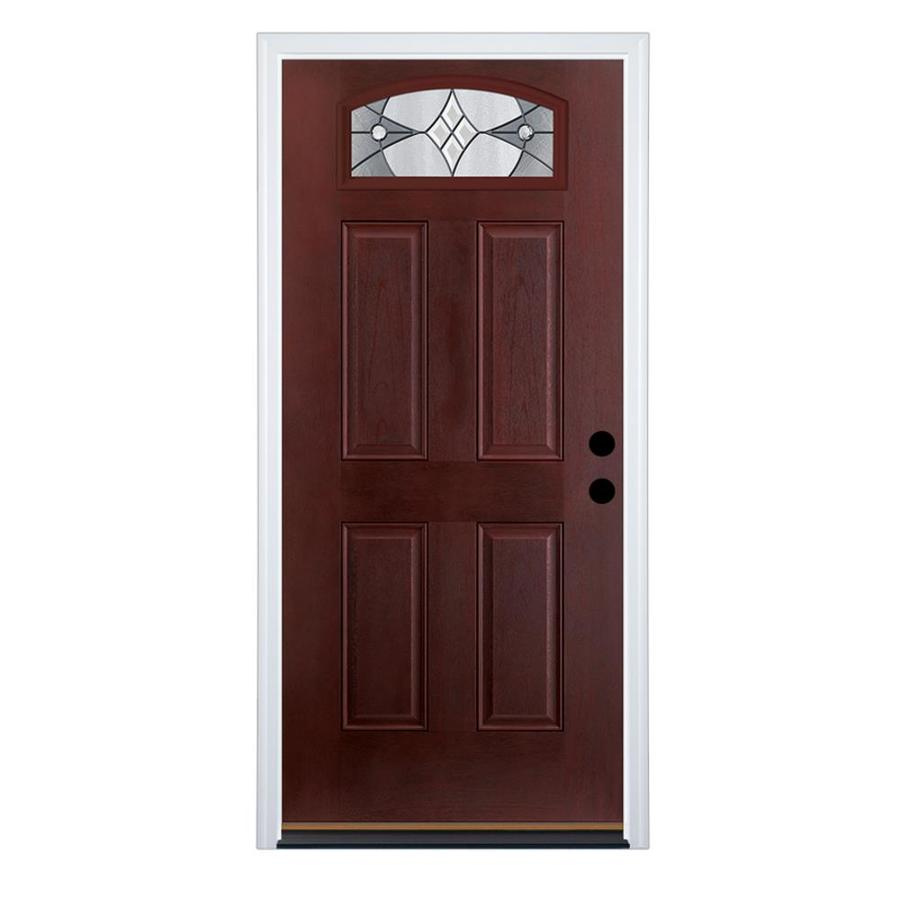 Therma-Tru Benchmark Doors Delano 4-Panel Insulating Core Morelight Left-Hand Inswing Dark Mahogany Fiberglass Stained Prehung Entry Door (Common: 36.0-in x 80.0-in; Actual: 37.5-in x 81.5-in)