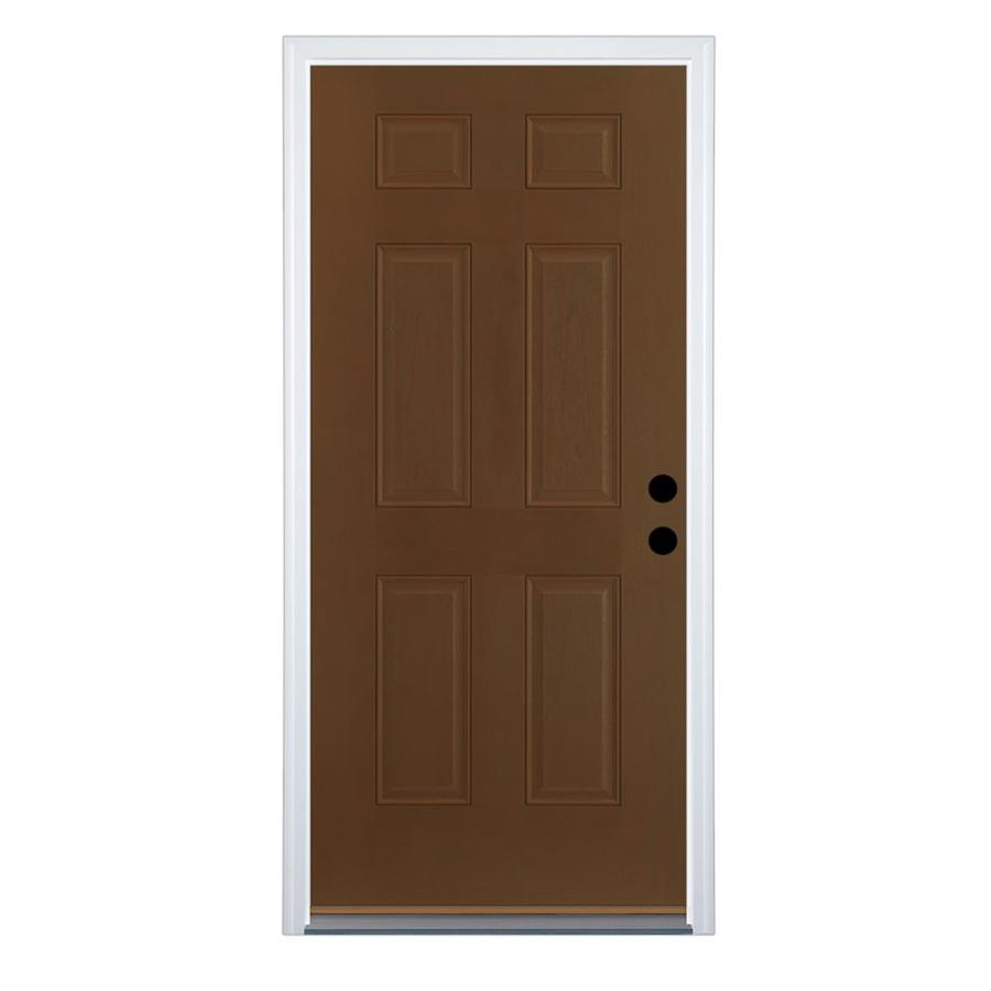 Therma-Tru Benchmark Doors 6-Panel Insulating Core Left-Hand Inswing Walnut Fiberglass Stained Prehung Entry Door (Common: 36-in x 80-in; Actual: 37.5-in x 81.5-in)