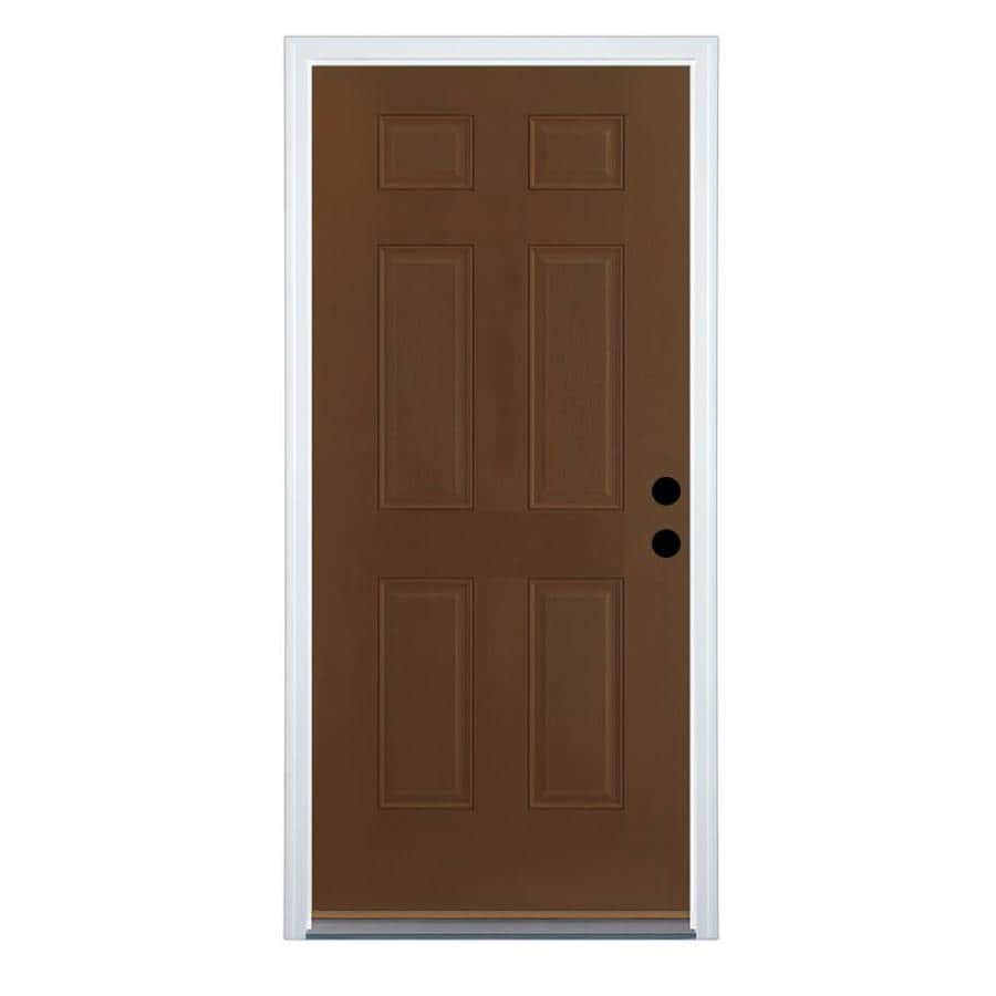 Therma-Tru Benchmark Doors 6-Panel Insulating Core Left-Hand Inswing Walnut Fiberglass Stained Prehung Entry Door (Common: 36.0-in x 80.0-in; Actual: 37.5-in x 81.5-in)