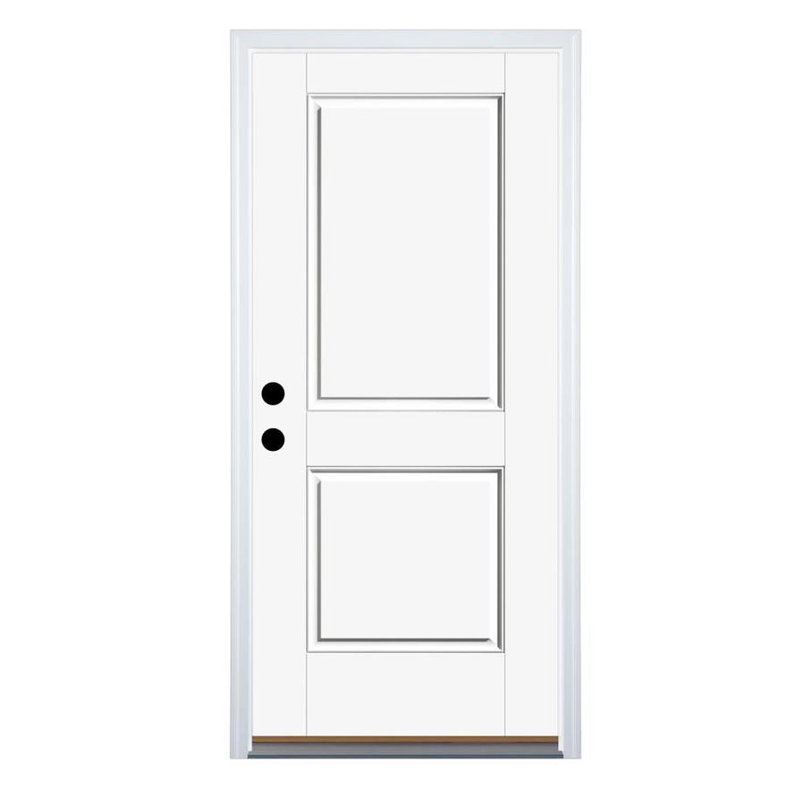 Therma-Tru Benchmark Doors 6-Panel Insulating Core Left-Hand Inswing Dark Mahogany Fiberglass Stained Prehung Entry Door (Common: 36.0-in x 80.0-in; Actual: 37.5-in x 81.5-in)