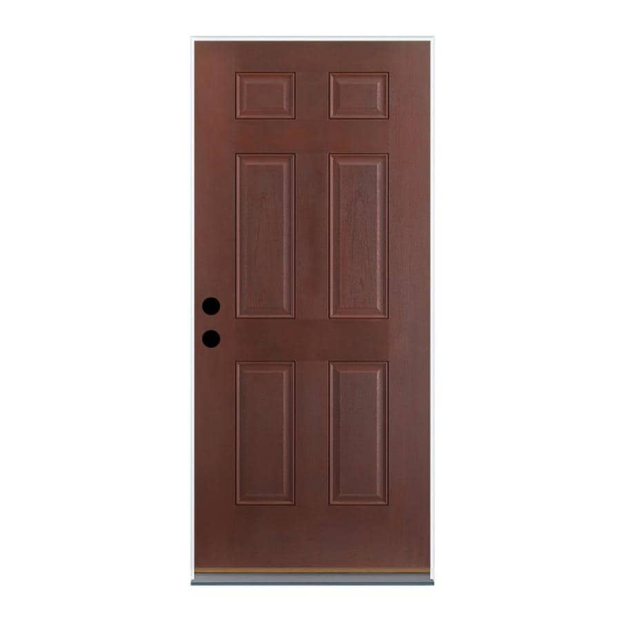 Therma-Tru Benchmark Doors 6-Panel Insulating Core Right-Hand Inswing Dark Mahogany Fiberglass Stained Prehung Entry Door (Common: 36-in x 80-in; Actual: 37.5-in x 81.5-in)