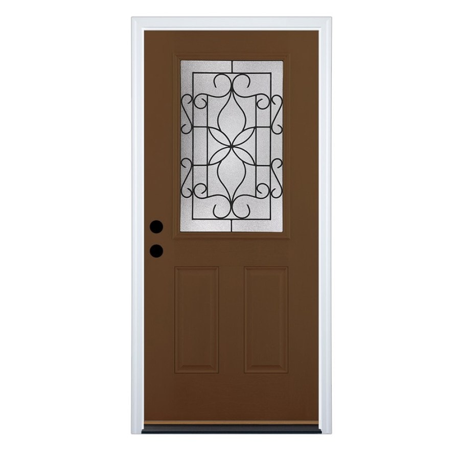 Therma-Tru Benchmark Doors Florentino Right-Hand Inswing Walnut Stained Fiberglass Entry Door with Insulating Core (Common: 36-in x 80-in; Actual: 37.5-in x 81.5-in)