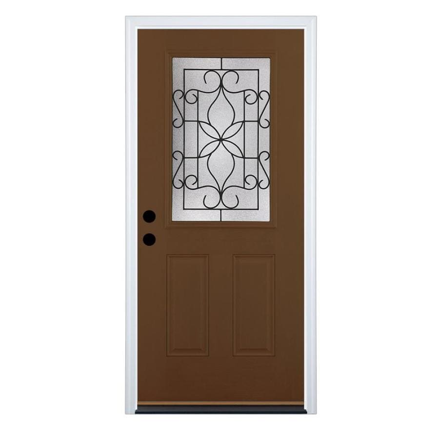 Therma-Tru Benchmark Doors Florentino 2-Panel Insulating Core Half Lite Right-Hand Outswing Walnut Fiberglass Stained Prehung Entry Door (Common: 36-in x 80-in; Actual: 37.5-in x 80.5-in)