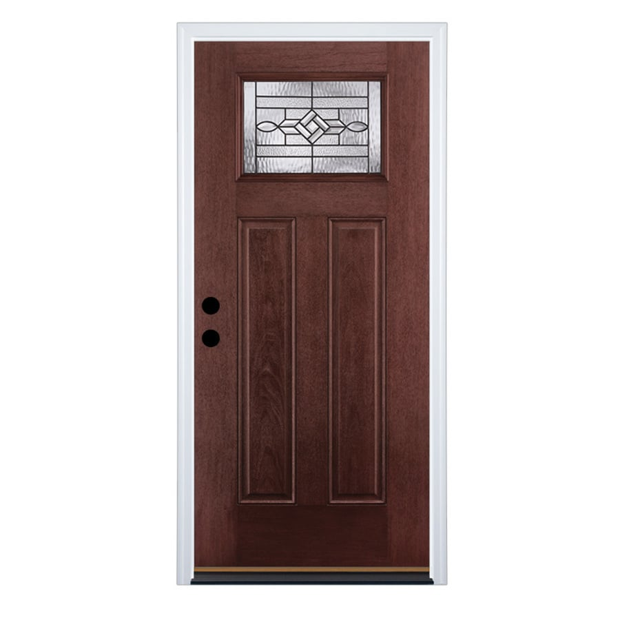 Shop therma tru benchmark doors wickerpark right hand inswing dark mahogany stained fiberglass - Paint or stain fiberglass exterior doors concept ...