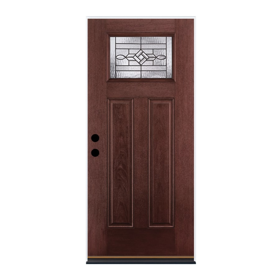 Shop therma tru benchmark doors wickerpark right hand inswing dark mahogany stained fiberglass for Lowes fiberglass exterior doors