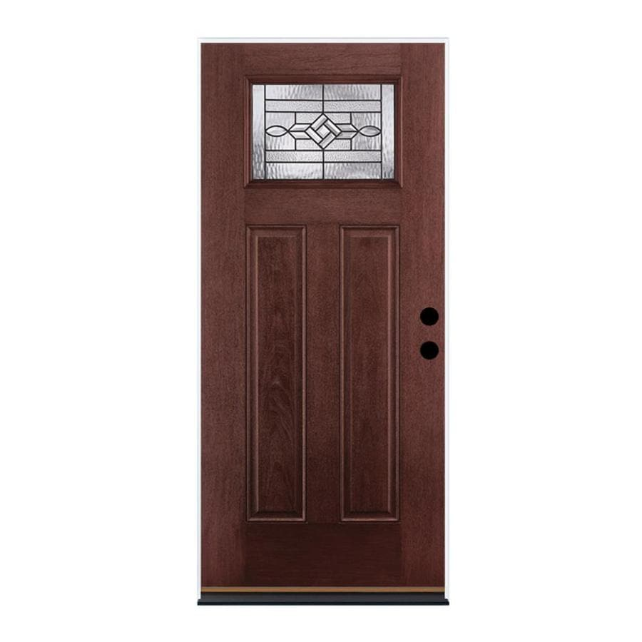 Therma-Tru Benchmark Doors WickerPark Craftsman Insulating Core Craftsman 1-Lite Right-Hand Outswing Dark Mahogany Fiberglass Stained Prehung Entry Door (Common: 36.0-in x 80.0-in; Actual: 37.5-in x 80.5-in)