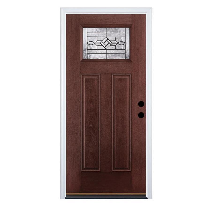 Therma-Tru Benchmark Doors WickerPark Craftsman Insulating Core Craftsman 1-Lite Left-Hand Inswing Dark Mahogany Fiberglass Stained Prehung Entry Door (Common: 36.0-in x 80.0-in; Actual: 37.5-in x 81.5-in)