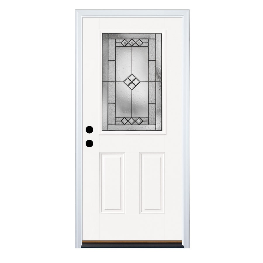 Therma-Tru Benchmark Doors 2-Panel Insulating Core Half Lite Right-Hand Inswing Fiberglass Unfinished Prehung Entry Door (Common: 36-in x 80-in; Actual: 37.5-in x 81.5-in)