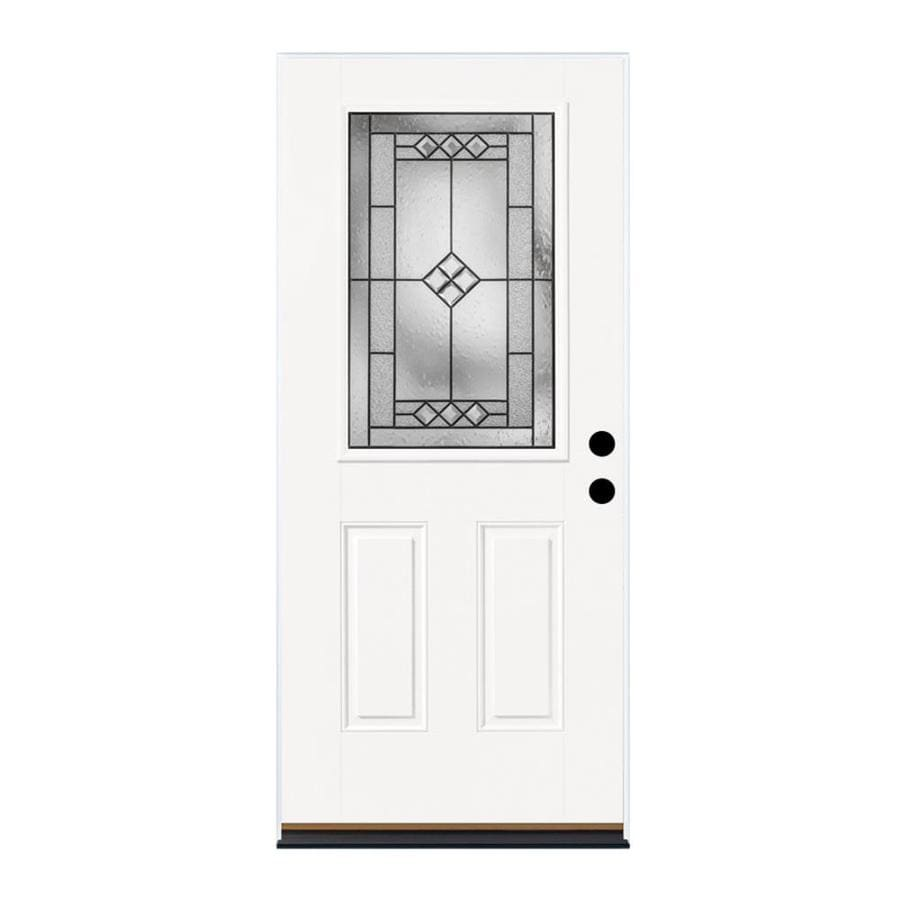 Therma-Tru Benchmark Doors Parson 2-Panel Insulating Core Half Lite Left-Hand Inswing Ready to Paint Fiberglass Prehung Entry Door (Common: 36.0-in x 80.0-in; Actual: 37.5-in x 81.5-in)