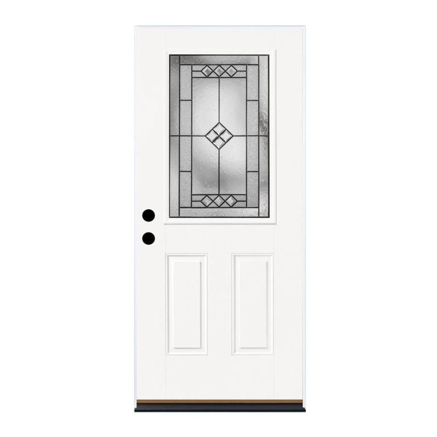 Therma-Tru Benchmark Doors Parson 2-Panel Insulating Core Half Lite Right-Hand Inswing Ready to Paint Fiberglass Prehung Entry Door (Common: 36.0-in x 80.0-in; Actual: 37.5-in x 81.5-in)