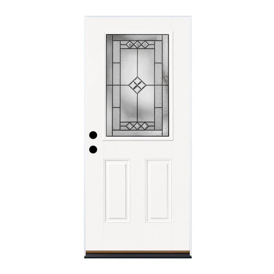 Therma-Tru Benchmark Doors 2-Panel Insulating Core Half Lite Right-Hand Inswing Fiberglass Unfinished Prehung Entry Door (Common: 36-in x 80-in; Actual: 37.5-in x 81.5-in)