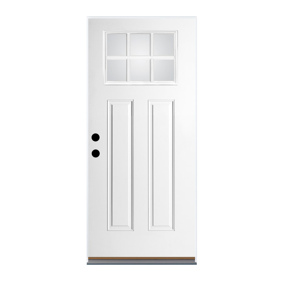 Therma-Tru Benchmark Doors Craftsman Insulating Core Craftsman 6-Lite Right-Hand Inswing Ready to Paint Fiberglass Prehung Entry Door (Common: 36.0-in x 80.0-in; Actual: 37.5-in x 81.5-in)