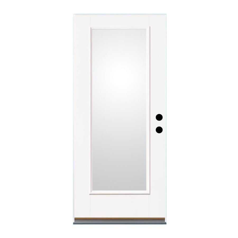 Therma-Tru Benchmark Doors Flush Insulating Core 15-Lite Right-Hand Outswing Fiberglass Unfinished Prehung Entry Door (Common: 36-in x 80-in; Actual: 37.5-in x 80.5-in)