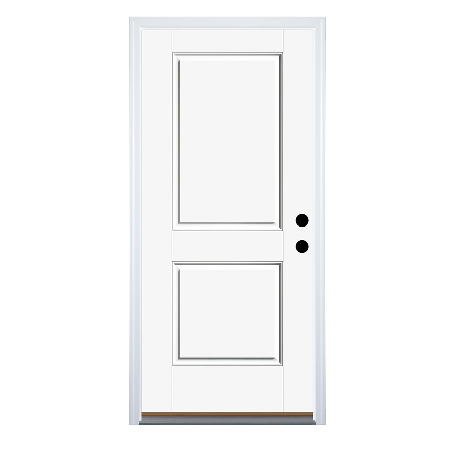 Therma-Tru Benchmark Doors 2-Panel Insulating Core Left-Hand Inswing Ready to Paint Fiberglass Unfinished Prehung Entry Door (Common: 36.0-in x 80.0-in; Actual: 37.5-in x 81.5-in)