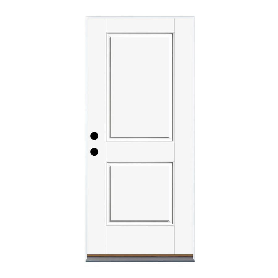 Therma-Tru Benchmark Doors 2-Panel Insulating Core Left-Hand Outswing Ready to Paint Fiberglass Prehung Entry Door (Common: 36.0-in x 80.0-in; Actual: 37.5-in x 80.5-in)