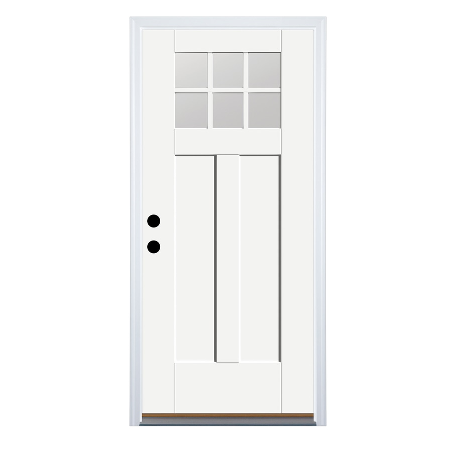 Therma-Tru Benchmark Doors Craftsman Insulating Core 6-Lite Right-Hand Inswing Ready to Paint Fiberglass Prehung Entry Door (Common: 36.0-in x 80.0-in; Actual: 37.5-in x 81.5-in)