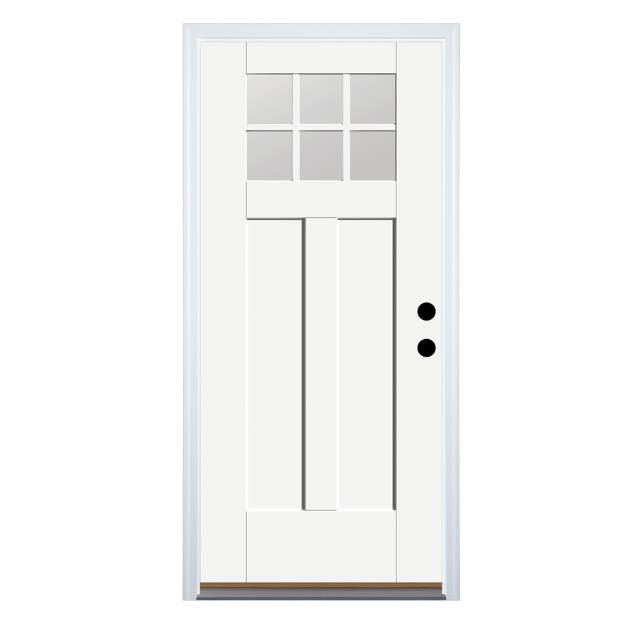 Therma-Tru Benchmark Doors Craftsman Insulating Core 6-Lite Left-Hand Inswing Ready to Paint Fiberglass Prehung Entry Door (Common: 36.0-in x 80.0-in; Actual: 37.5-in x 81.5-in)