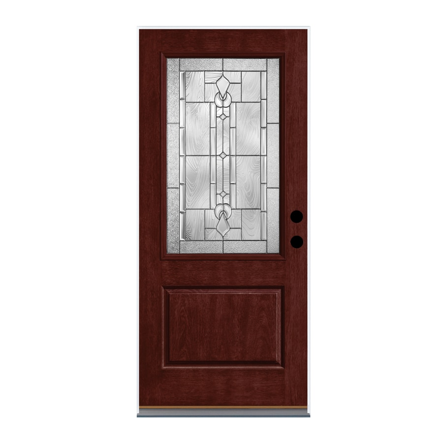 Therma-Tru Lucerna Decorative Glass Left-Hand Inswing Mulberry Fiberglass Stained Entry Door (Common: 36-in x 80-in; Actual: 37.625-in x 82-in)
