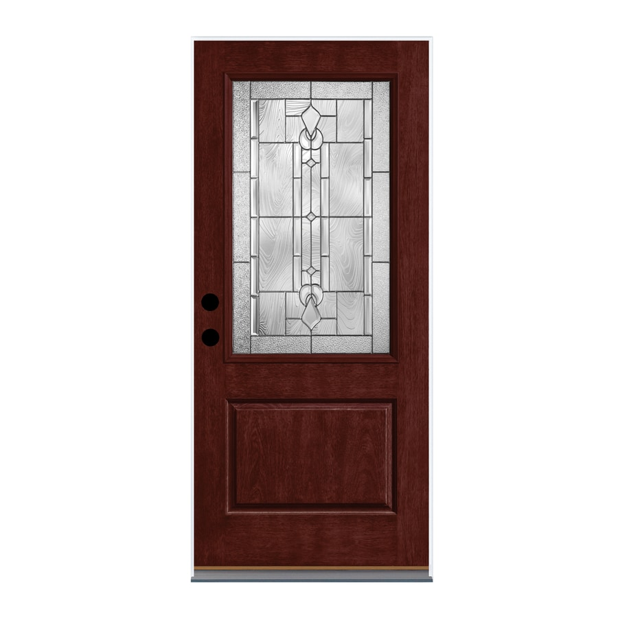 Therma-Tru Lucerna Decorative Glass Left-Hand Outswing Mulberry Fiberglass Stained Entry Door (Common: 36-in x 80-in; Actual: 37.625-in x 81.1875-in)