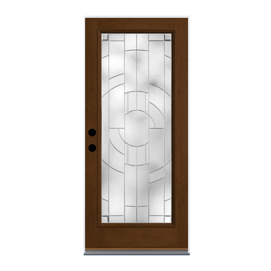 Therma-Tru Zaha Decorative Glass Right-Hand Inswing New Earth Fiberglass Stained Entry Door (Common: 36-in x 80-in; Actual: 37.625-in x 82-in)