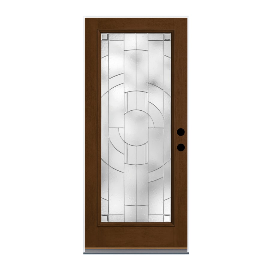 Shop Therma Tru Zaha Decorative Glass Left Hand Inswing New Earth Fiberglass Stained Entry Door