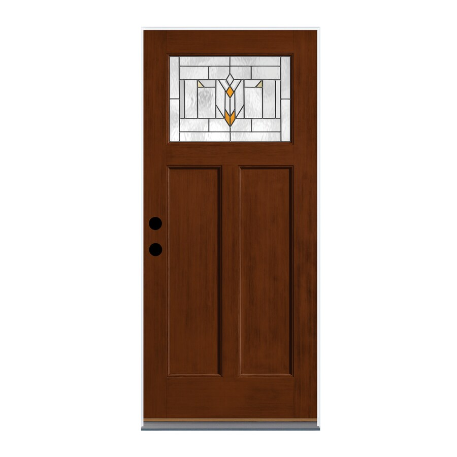 Therma-Tru Arborwatch Decorative Glass Right-Hand Inswing Autumn Harvest Fiberglass Stained Entry Door (Common: 36-in x 80-in; Actual: 37.625-in x 82-in)
