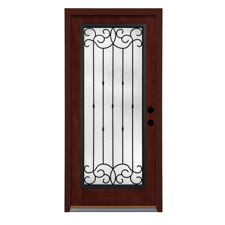 Therma-Tru Borrassa Decorative Glass Right-Hand Outswing Mulberry Fiberglass Stained Entry Door (Common: 36-in x 80-in; Actual: 37.625-in x 81.1875-in)