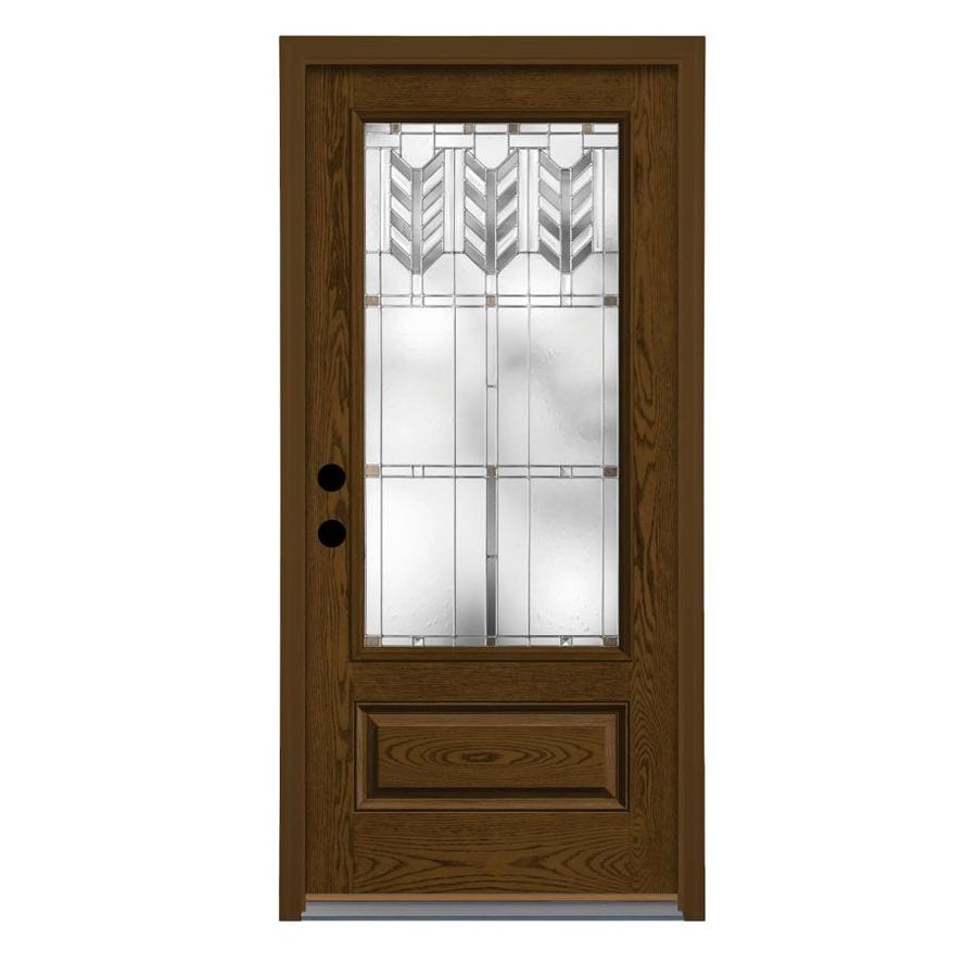 Therma-Tru Villager Decorative Glass Right-Hand Inswing Barley Fiberglass Stained Entry Door (Common: 36-in x 80-in; Actual: 37.625-in x 82-in)