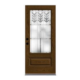Therma Tru Villager Decorative Glass Right Hand Inswing Barley Fiberglass  Stained Entry Door (