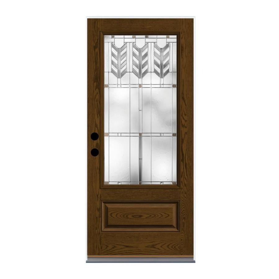 Shop therma tru villager decorative glass left hand outswing barley fiberglass stained entry for Therma tru exterior doors fiberglass