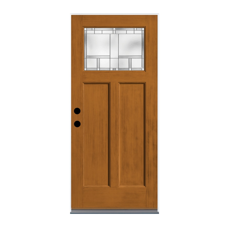 Shop therma tru homeward decorative glass left hand outswing wildflower honey fiberglass stained for Therma tru exterior doors fiberglass