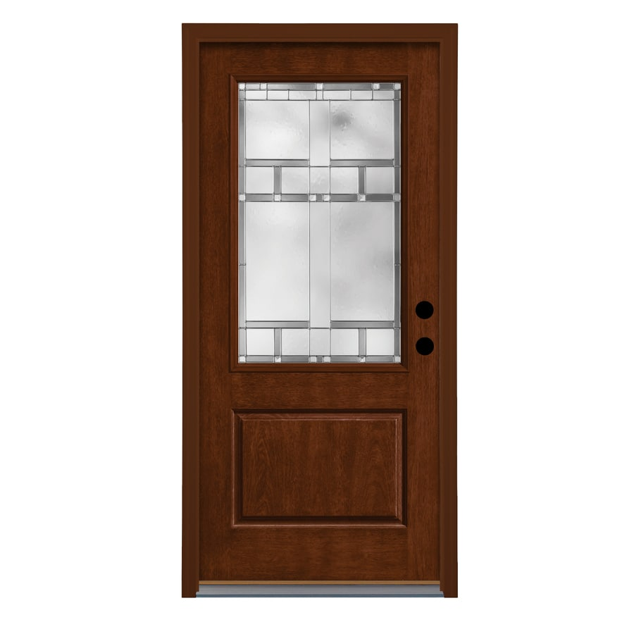 Therma Tru Homeward Decorative Glass Right Hand Outswing Autumn Harvest  Fiberglass Stained Entry Door