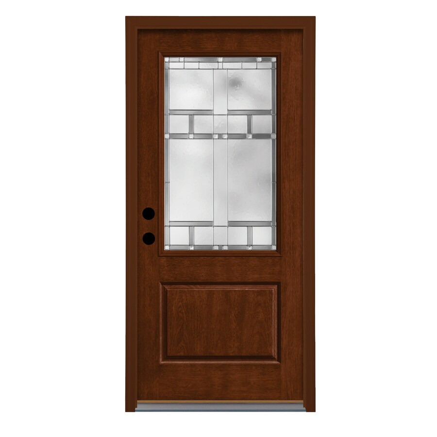 Therma-Tru Homeward Decorative Glass Left-Hand Outswing Autumn Harvest Fiberglass Stained Entry Door (Common: 36-in x 80-in; Actual: 37.625-in x 81.1875-in)