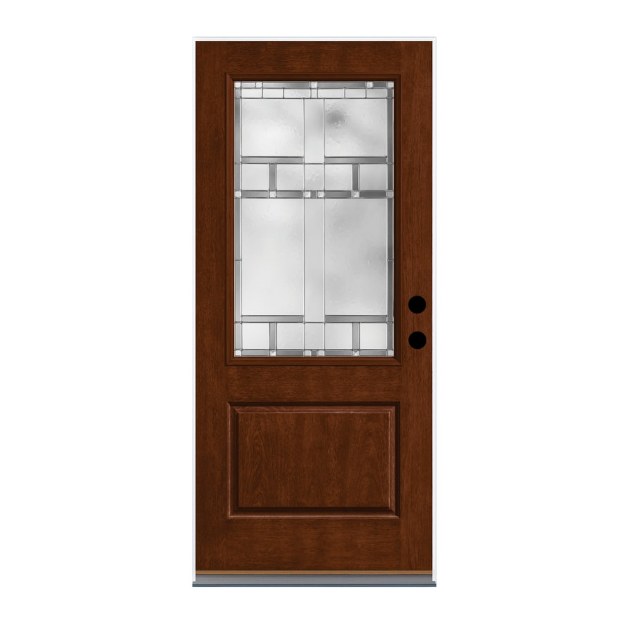 Therma-Tru Homeward Decorative Glass Left-Hand Inswing Autumn Harvest Fiberglass Stained Entry Door (Common: 36-in x 80-in; Actual: 37.625-in x 82-in)