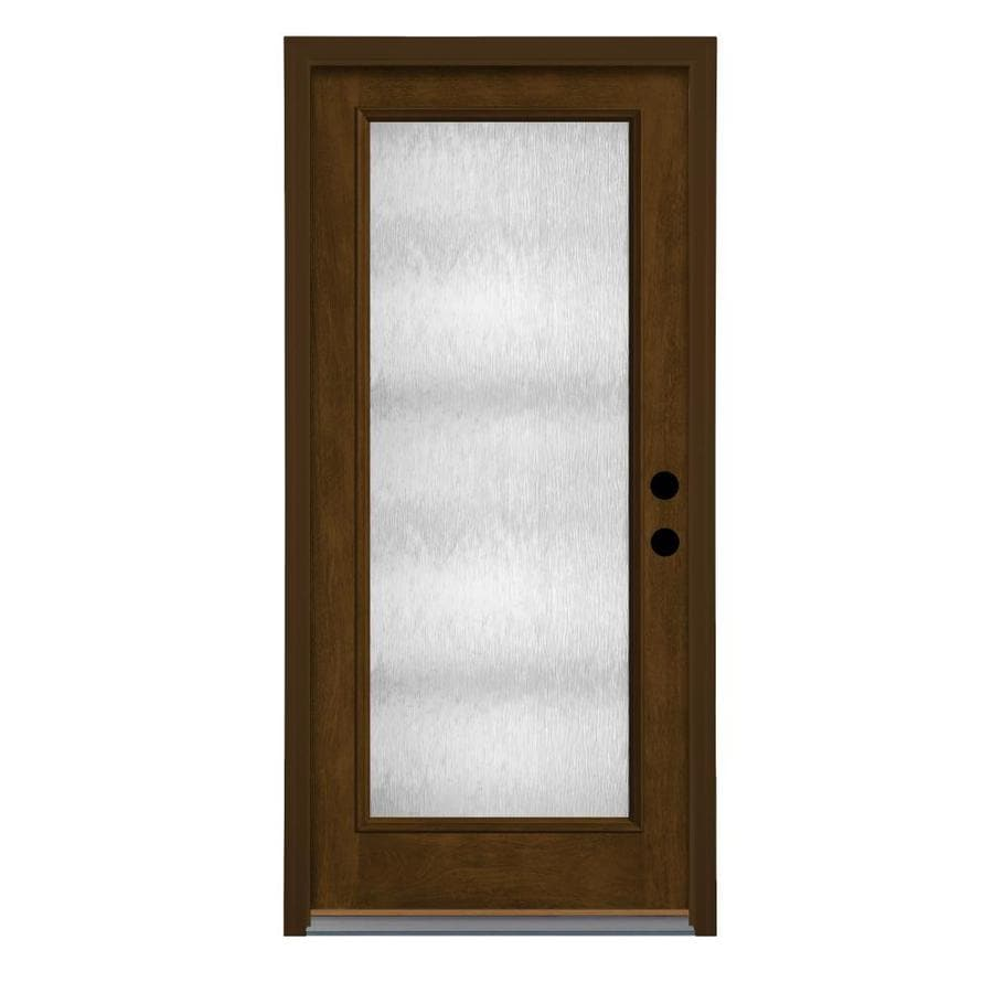 Therma Tru Chord Privacy Glass Right Hand Outswing Barley Fiberglass  Stained Entry Door (
