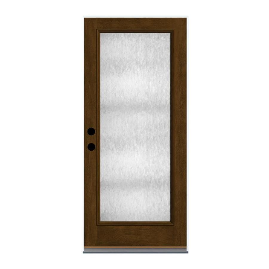 Therma-Tru Chord Privacy Glass Right-Hand Inswing Barley Fiberglass Stained Entry Door (Common: 36-in x 80-in; Actual: 37.625-in x 82-in)