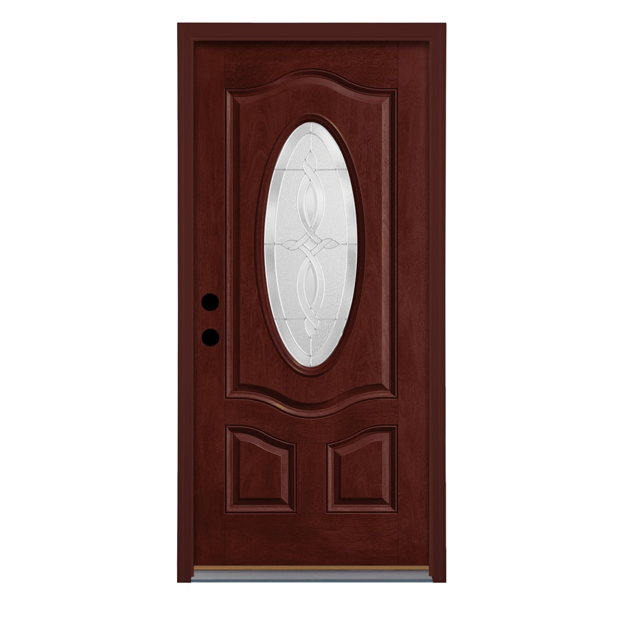 Therma-Tru Longford Decorative Glass Right-Hand Inswing Mulberry Fiberglass Stained Entry Door (Common: 36-in x 80-in; Actual: 37.625-in x 82-in)