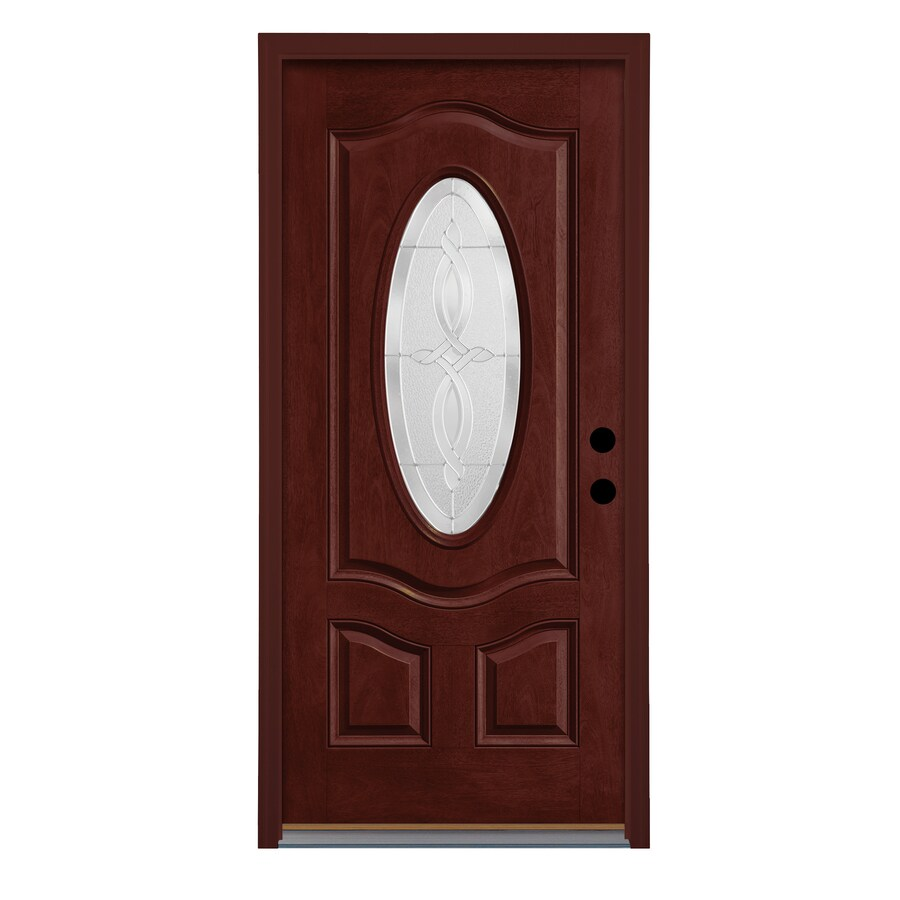 Therma Tru Longford Decorative Glass Right Hand Outswing Mulberry  Fiberglass Stained Entry Door (