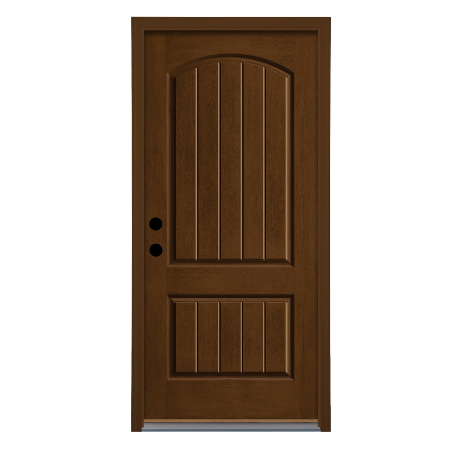 Therma-Tru Left-Hand Outswing New Earth Fiberglass Stained Entry Door (Common: 36-in x 80-in; Actual: 37.625-in x 81.1875-in)