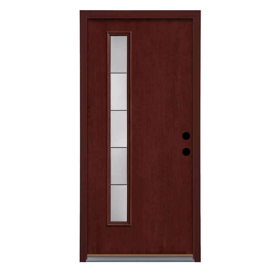 Therma-Tru Axis Decorative Glass Left-Hand Inswing Mulberry Fiberglass Stained Entry Door (Common: 36-in x 80-in; Actual: 37.625-in x 82-in)