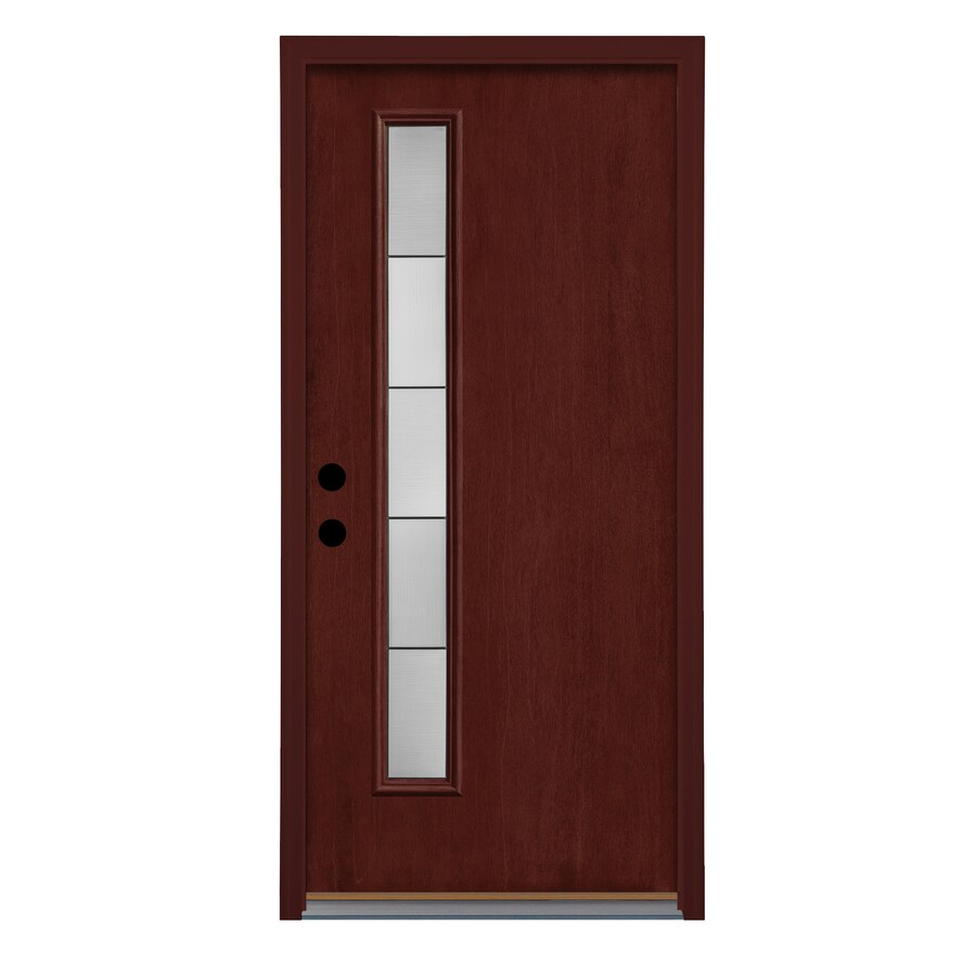 Therma-Tru Axis Decorative Glass Left-Hand Outswing Mulberry Fiberglass Stained Entry Door (Common: 36-in x 80-in; Actual: 37.625-in x 81.1875-in)