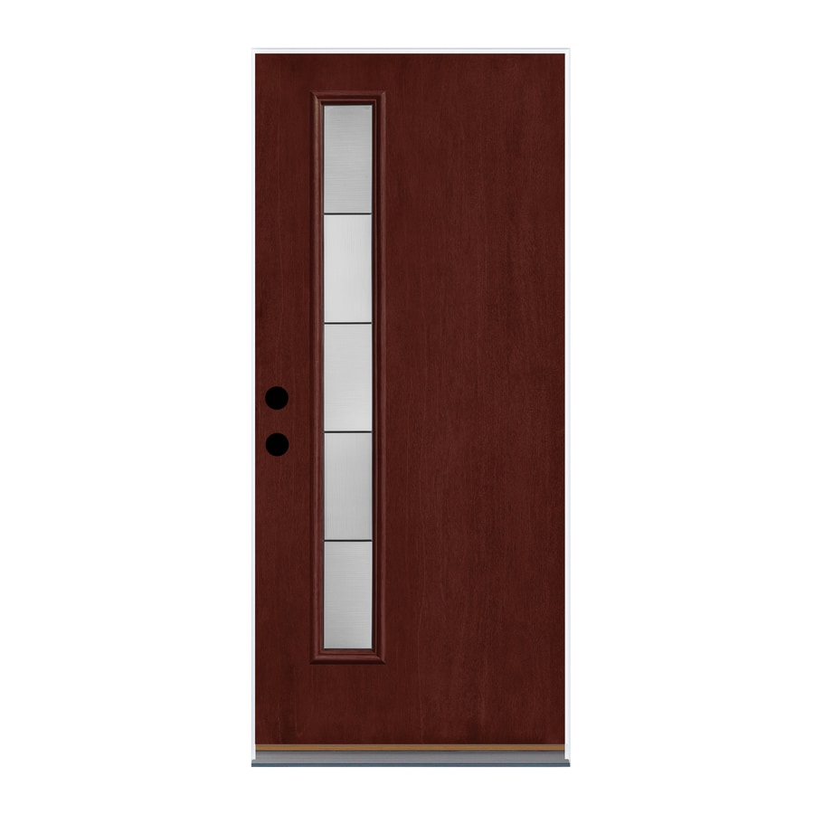 Therma-Tru Axis Decorative Glass Right-Hand Inswing Mulberry Fiberglass Stained Entry Door (Common: 36-in x 80-in; Actual: 37.625-in x 82-in)