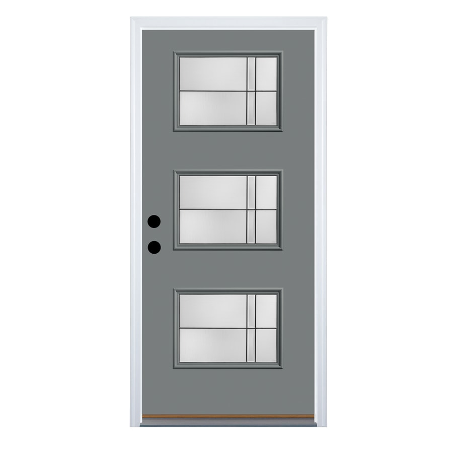Shop Therma Tru Axis Decorative Glass Left Hand Outswing Granite Fiberglass Painted Entry Door