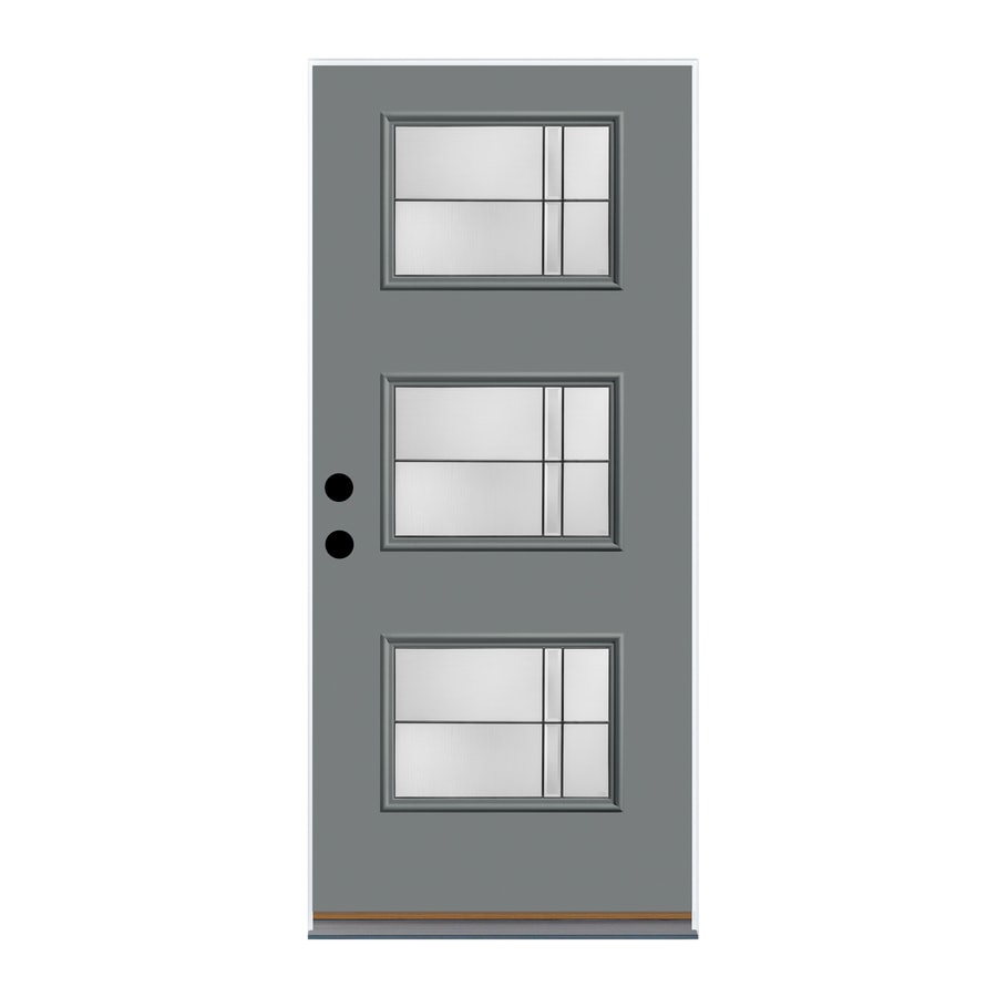 Therma-Tru Axis Decorative Glass Right-Hand Inswing Granite Fiberglass Painted Entry Door (Common: 36-in x 80-in; Actual: 37.625-in x 82-in)