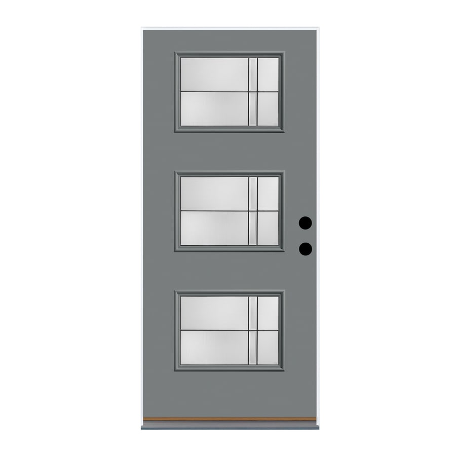 Great Therma Tru Axis Decorative Glass Granite Painted Fiberglass Prehung Entry  Door With Insulating Core (
